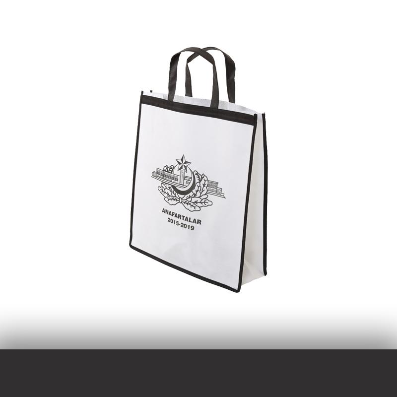 Siyah Kulplu Logo Baskılı Beyaz Tela Çanta
