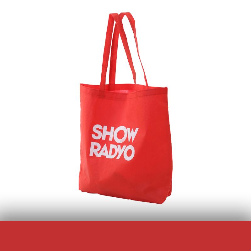 Kırmızı Logo Baskılı Tela Çanta