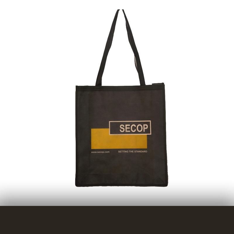 Siyah Logo Baskılı Tela Çanta