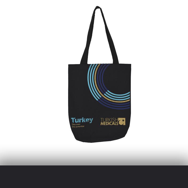 Siyah Renk Logo Detaylı Ham Bez Baskılı Çanta